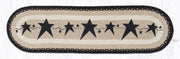 "Capitol Earth Rugs Black Primitive Stars Printed Table Runner, 13"" x 48"" Oval"