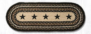 "Capitol Earth Rugs Black Stars Printed Table Runner, 13"" x 36"" Oval"