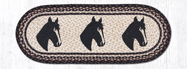 "Capitol Earth Rugs Horse Portrait Printed Table Runner, 13"" x 36"" Oval"
