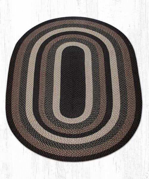 Capitol Earth Rugs Mocha/Frappuccino Traditional Braided Rug - Oval
