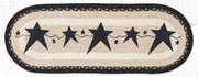 "Capitol Earth Rugs Black Primitive Stars Printed Jute Table Runner, 13"" x 36"" Oval"