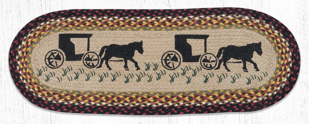 "Capitol Earth Rugs Amish Buggy Jute Table Runner, 13"" x 36"" Oval"