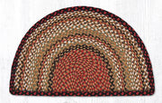 "Capitol Earth Rugs Braided Jute Slice Rug, 18"" x 29"", Burgundy/Mustard/Ivory"
