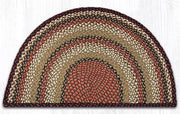 "Capitol Earth Rugs Braided Jute Slice Rug, 24"" x 39"", Burgundy/Mustard/Ivory"