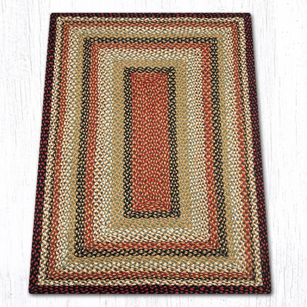 Burgundy/Mustard/Ivory Traditional Braided Rugs - Oval & Oblong