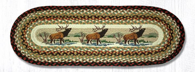 "Capitol Earth Rugs Winter Elk Printed Table Runner, 13"" x 36"" Oval"