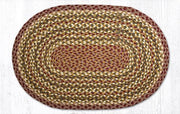 "Capitol Earth Rugs Olive/Burgundy/Grey Traditional Braided Rug, Oval 20"" x 30"""