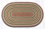 "Capitol Earth Rugs Olive/Burgundy/Grey Traditional Braided Rug, Oval 27"" x 45"""