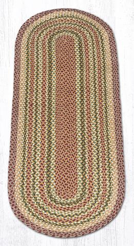 Capitol Earth Rugs Olive/Burgundy/Grey Traditional Braided Rug, Oval 2' x 6'