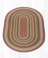 Capitol Earth Rugs Olive/Burgundy/Grey Traditional Braided Rug, Oval