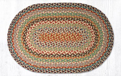 "Capitol Earth Rugs Multi-Color Traditional Braided Rug, Oval 20"" x 30"""