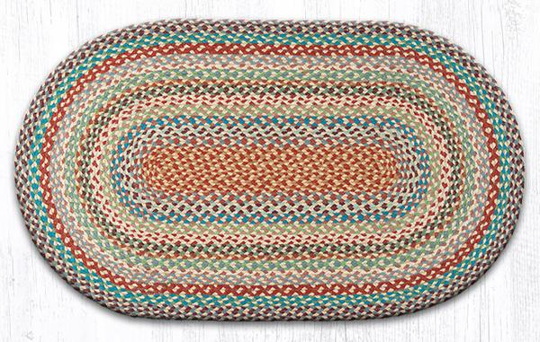 "Capitol Earth Rugs Multi-Color Traditional Braided Rug, Oval 27"" x 45"""