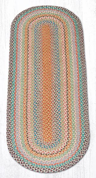 Capitol Earth Rugs Multi-Color Traditional Braided Rug, Oval 2' x 6'