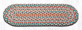 "Capitol Earth Rugs Braided Jute Stair Tread, 8.25"" x 27"" Oval, Multi-Color"