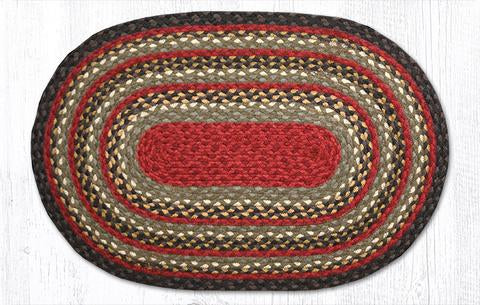 "Capitol Earth Rugs Burgundy/Olive/Charcoal Traditional Braided Rug, Oval 20"" x 30"""