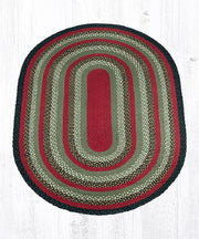 Capitol Earth Rugs Burgundy/Olive/Charcoal Traditional Braided Rug, Oval