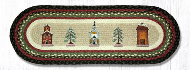 "Capitol Earth Rugs Winter Village Printed Table Runner, 13"" x 36"" Oval"