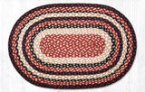 "Capitol Earth Rugs Burgundy/Black/Tan Traditional Braided Rug, Oval 20"" x 30"""