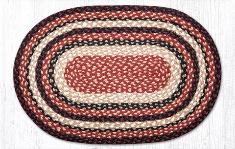 Capitol Earth Rugs Burgundy/Black/Tan Traditional Braided Rug, Oval 20
