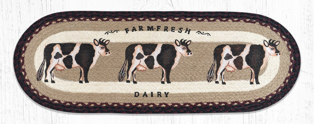 "Capitol Earth Rugs Farmhouse Cow Jute Table Runner, 13"" x 36"" Oval"