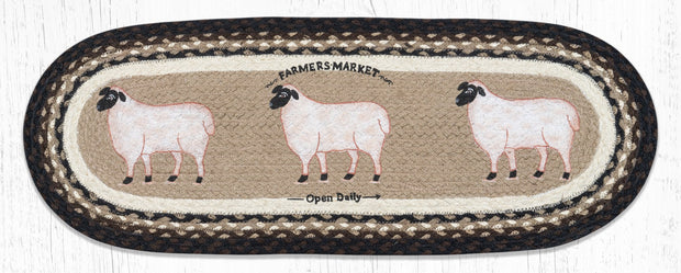 "Capitol Earth Rugs Farmhouse Sheep Jute Table Runner, 13"" x 36"" Oval"