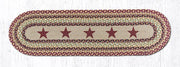 "Capitol Earth Rugs Burgundy Stars Printed Table Runner, 13"" x 48"" Oval"
