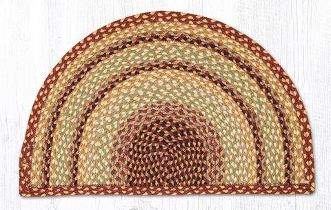 "Capitol Earth Rugs Braided Jute Slice Rug, 18"" x 29"", Burgundy/Grey/Cream"
