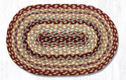 "Capitol Earth Rugs Braided Jute Placemats 13"" x 9"", Color: Burgundy/Grey/Cream"
