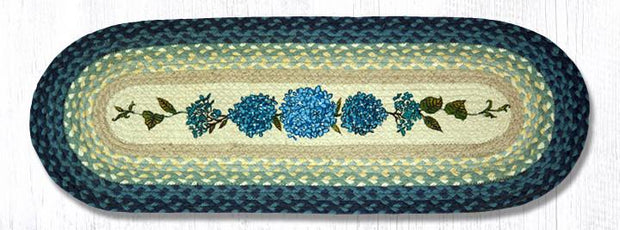 "Capitol Earth Rugs Blue Hydrangea Printed Table Runner, 13"" x 36"" Oval"