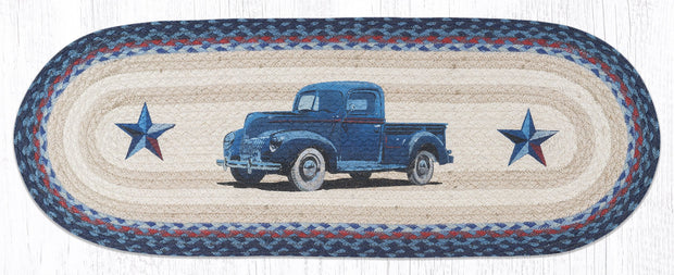 "Capitol Earth Rugs Blue Truck Printed Table Runner, 13"" x 36"" Oval"