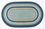 "Capitol Earth Rugs Breezy Blue/Ivory/Taupe Traditional Braided Rug, Oval 27"" x 45"""