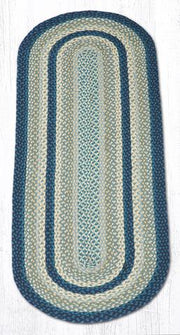 Capitol Earth Rugs Breezy Blue/Taupe/Ivory Traditional Braided Rug - Oval 2' x 6'