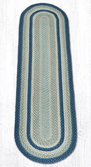 Capitol Earth Rugs Breezy Blue/Taupe/Ivory Traditional Braided Rug - Oval 2' x 8'