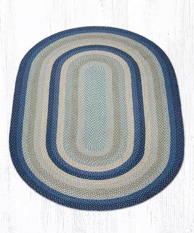 Capitol Earth Rugs Breezy Blue/Taupe/Ivory Traditional Braided Rug - Oval