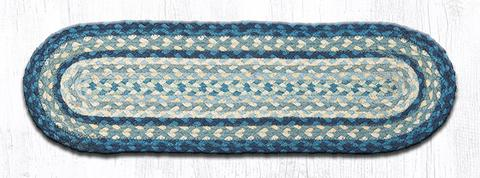 "Capitol Earth Rugs Braided Jute Stair Tread, 8.25"" x 27"" Oval, Breezy Blue/Taupe/Ivory"