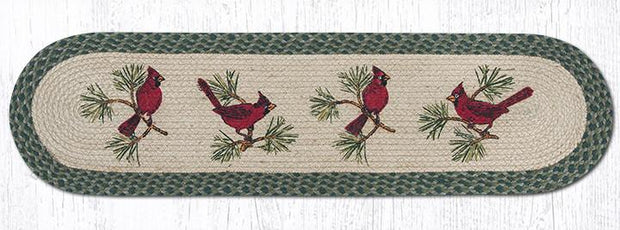 "Capitol Earth Rugs Cardinals Printed Table Runner, 13"" x 48"" Oval"