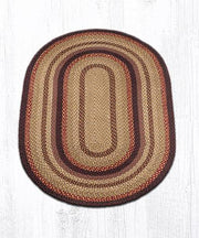 Capitol Earth Rugs Black Cherry/Chocolate/Cream Traditional Braided Rug, Oval