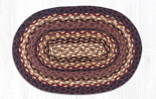 "Capitol Earth Rugs Braided Jute Placemats 13"" x 9"", Color: Black Cherry/Chocolate/Cream"