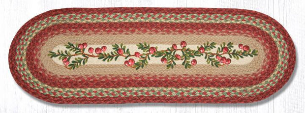 "Capitol Earth Rugs Cranberries Printed Table Runner, 13"" x 36"" Oval"