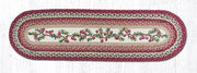 "Capitol Earth Rugs Cranberries Printed Table Runner, 13"" x 48"" Oval"