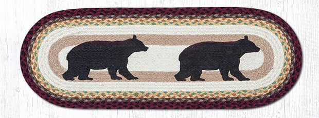 "Capitol Earth Rugs Cabin Bear Printed Table Runner, 13"" x 36"" Oval"