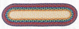"Capitol Earth Rugs Braided Jute Stair Tread, 8.25"" x 27"" Oval, Rainbow"