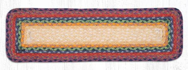 "Capitol Earth Rugs Braided Jute Stair Tread, 8.5"" x 27"" Rectangle, Rainbow"