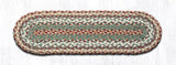 "Capitol Earth Rugs Braided Jute Stair Tread, 8.25"" x 27"" Oval, Buttermilk/Cranberry"