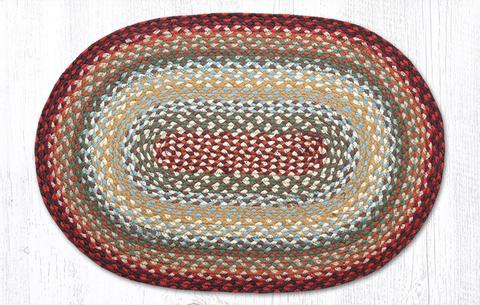 "Capitol Earth Rugs Thistle Green/Country Red Traditional Braided Rug - Oval 20"" x 30"""