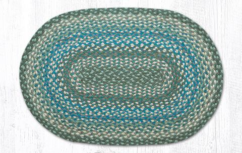 "Capitol Earth Rugs Sage/Ivory/Settlers Blue Traditional Braided Rug - Oval 20"" x 30"""