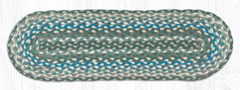 "Capitol Earth Rugs Braided Jute Stair Tread, 8.25"" x 27"" Oval, Sage/Ivory/Settler's Blue"