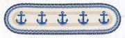 "Capitol Earth Rugs Navy Anchor Printed Table Runner, 13"" x 48"" Oval"