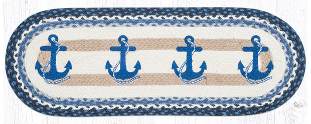 "Capitol Earth Rugs Navy Anchor Printed Table Runner, 13"" x 36"" Oval"