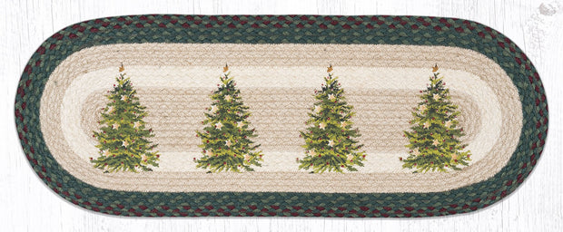 "Capitol Earth Rugs Christmas Tree Printed Table Runner, 13"" x 36"" Oval"